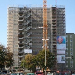 Fassadengerüst, Spezialgerüst, Treppenturm Ludwigsplatz 11, Dachcafe in Gießen